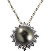 14k White Gold Tahitian Pearl and Diamond Pendant