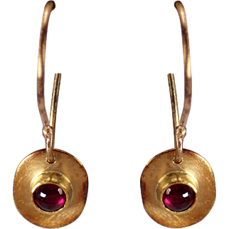 22 & 18k Yellow Gold Ruby Earrings