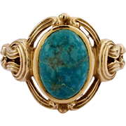 Antique 14k Yellow Gold Turquoise Ring