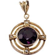 Antique 14k Yellow Gold Amethyst and Seed Pearl Pendant