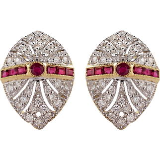 18k Yellow and White Gold Ruby and Diamond Earrings