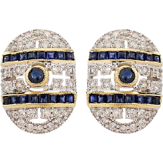 18k White and Yellow Gold Sapphire and Diamond Earrings