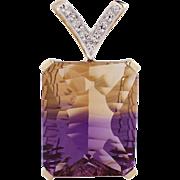 14k Yellow Gold Ametrine and Diamond Pendant