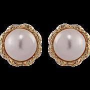 18k Yellow Gold Mobe Pearl Earrings