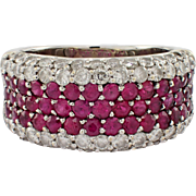 18k White Gold Pink Sapphire and Diamond Band