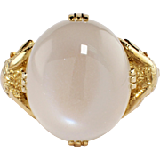Art Nouveau 14k Yellow Gold Moonstone Ring