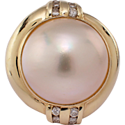 14K Yellow Gold Mobe and Pearl Diamond Ring