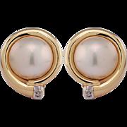 14K Yellow Gold Mobe Pearl & Diamond Earrings