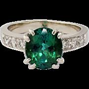 14K White Gold Tourmaline & Diamond Ring