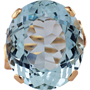 Retro 14K Rose Gold Aquamarine & Diamond Ring