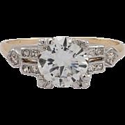 Art Deco Platinum & 14K Yellow Gold Diamond Ring
