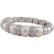 18K White Gold Diamond & South Sea Pearl Bangle Bracelet