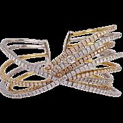 18K White & Yellow Gold Diamond Bangle Bracelet