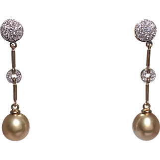 18k Yellow Gold South Sea Pearl and Diamond Earrings