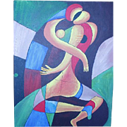 Original Abstract Paining of Couple Kissing