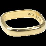 GUCCI  18K Yellow Gold Square Wedding Band