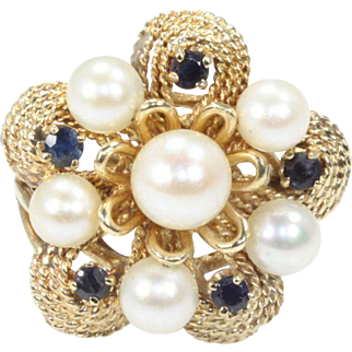 Bold 14K Yellow Gold Saltwater Cultured Pearl and Sapphire Cocktail Ring