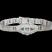 14K white Gold Filigree Bracelet with Diamonds and Emeralds