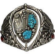 Vintage Navajo Sterling Silver Spinning Turquoise and Red Coral Cuff Bracelet by Lee H. Nez