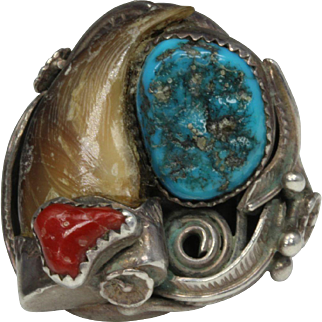 Navajo Sterling Silver Bear Claw Turquoise and Coral Ring