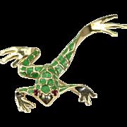 Enamel 14k Yellow Gold Frog