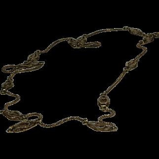 """14K Yellow Gold Unique Necklace 30"""" Long"""