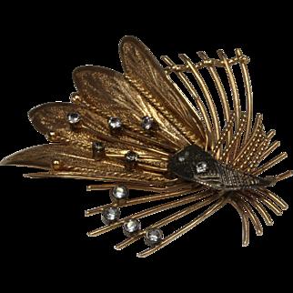 Unique Rose Gold Peacock Brooch