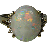 Huge 14K Yellow Gold Opal and Diamond Ring