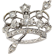 14K White Gold Crown Brooch 19 with Old European Diamonds