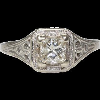 14K White Gold Filigree Diamond Ring .57 carats