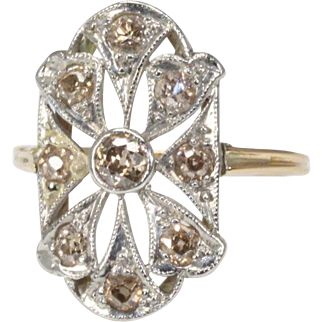 Stunning 14K Yellow Gold Filigree Ring with Light Fancy Diamonds