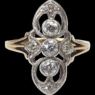 14 Karat Gold Filigree Old European Cut Diamond Ring
