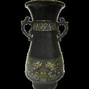 Antique Japanese Bronze With Cloisonné Double Handled Vase