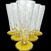 Set of six Thomas Webb Venetian ripple glasses - 1936-1949 - Vintage lemon yellow drinking glasses - British glass