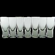 Set of seven Holmegaard 'Canada' shot glasses designed by Per Lutken - Smokey grey vintage Danish port or sherry glasses