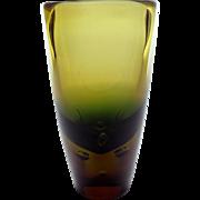 1964 Bohemian graduated topaz and green cased glass vase by Valdimir Jelinek - Pattern no 6438 - Skrdlovice heavy tapered glass vase