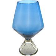 Mid century blue Italian Murano oversized brandy glass with internal bubbles (bullicante) in base - Large blue brandy glass from Italy