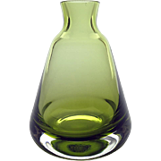 1970's Caithness green 'moss' glass vase - Scottish bell shaped bud vase from the 'Braemore' range, pattern no 4085 by Colin Terris