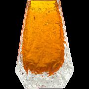 Vintage 1967 Whitefriars tangerine orange 'coffin' glass vase from the 'Textured' range designed by Geoffrey Baxter - Pattern no 9686