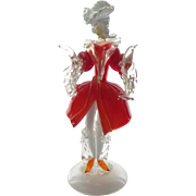 1950s - 1970s Italian Murano aventurine glass figurine of a man in elaborate red frock coat, white hat & orange slippers with applied frills
