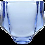 1960s ice blue glass vase by František Vízner for Sklo Union Teplice (Bohemia glass) - light blue flower bud vase for retro home shelf