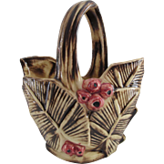 McCoy Pottery Berry and Palm Leaf Basket, Circa 1948