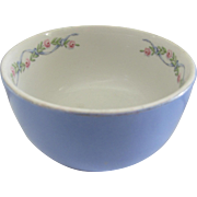 "Vintage Hall's 6"" Mixing Bowl. Halls. Blue Wildfire. Collectible Roses and Ribbons."