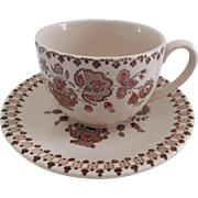 Johnson Brothers Staffordshire Old Granite Jamestown Brown Cup & Saucer