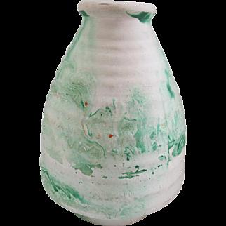 Nemadji Pottery Rippled Cone-Shaped Vase