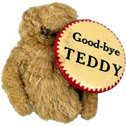 Goodbye Teddy Antique Roosevelt Bear & Pin Badge c1909