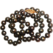 "Vintage 14k yellow gold & 5mm Black Pearl Beaded Necklace 17 1/2"" long"