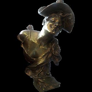 c1900 Art Nouveau Bronze signed Van Der Straeten woman with cherries