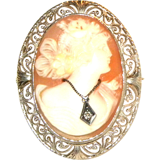 Victorian 14k White Gold Filigree & Cameo Brooch / Pin Pendant w/ Diamond Necklace
