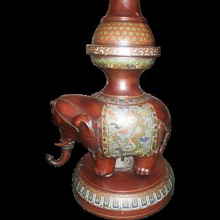Antique Japanese Bronze Champleve Floral Floor Lamp Cloisonne Large Elephant